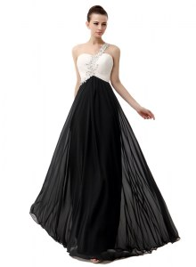 One Shoulder Sleeveless Chiffon Floor Length Zipper Pageant Gowns in White And Black with Beading