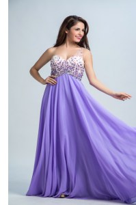 Modern Lavender Column/Sheath Chiffon One Shoulder Sleeveless Beading With Train Backless Prom Dresses Brush Train