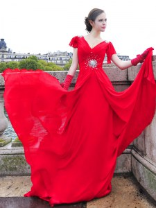Extravagant Red V-neck Neckline Beading and Ruching Cap Sleeves Lace Up