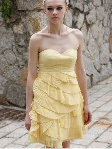 Adorable Yellow Sweetheart Zipper Ruching Dress for Prom Sleeveless