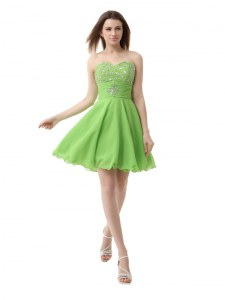 Gorgeous Organza Zipper Sweetheart Sleeveless Knee Length Prom Gown Beading