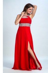 Fantastic Straps Sleeveless Taffeta Prom Dress Beading Zipper