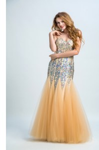 Fine Sleeveless Zipper Floor Length Sequins Prom Homecoming Dress