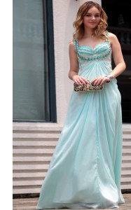 Light Blue Sleeveless Floor Length Beading Zipper