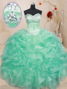 Classical Apple Green Sweetheart Lace Up Beading and Ruffles Sweet 16 Dresses Sleeveless