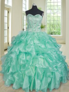Modern Apple Green Organza Lace Up Sweet 16 Dresses Sleeveless Floor Length Beading and Ruffles