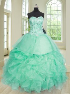 Custom Designed Apple Green Ball Gowns Sweetheart Sleeveless Organza Floor Length Lace Up Beading and Ruffles Quinceanera Dress