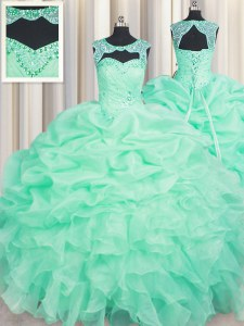 Designer Apple Green Lace Up Scoop Beading and Ruffles and Pick Ups Sweet 16 Dress Organza Sleeveless