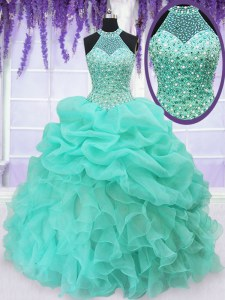Halter Top Sleeveless Organza Floor Length Lace Up 15 Quinceanera Dress in Aqua Blue with Beading and Ruffles and Pick Ups