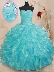 Discount Aqua Blue Sweetheart Neckline Beading and Ruffles Sweet 16 Dress Sleeveless Lace Up