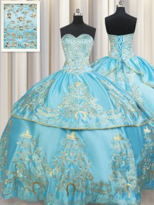 Enchanting Floor Length Aqua Blue 15th Birthday Dress Sweetheart Sleeveless Lace Up