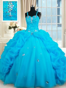 Fitting Straps Sleeveless Quinceanera Dress Floor Length Beading and Pick Ups Baby Blue Organza