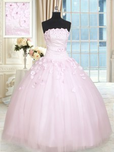 Superior Baby Pink Strapless Lace Up Beading and Appliques Ball Gown Prom Dress Sleeveless