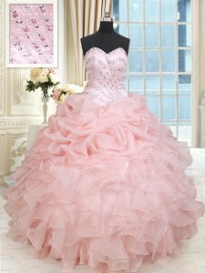 Baby Pink Lace Up Quinceanera Gowns Beading and Ruffles and Pick Ups Sleeveless Floor Length