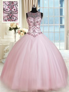 Beautiful Ball Gowns Vestidos de Quinceanera Baby Pink Scoop Tulle Sleeveless Floor Length Lace Up