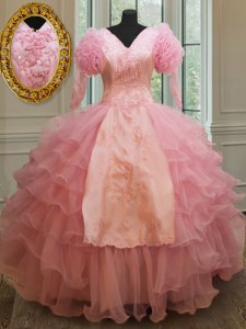 Baby Pink Organza Zipper V-neck Half Sleeves Floor Length Sweet 16 Dresses Beading and Embroidery and Ruffled Layers