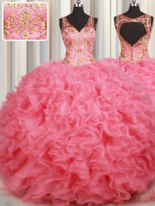 Deluxe Pink Organza Backless Quinceanera Dress Sleeveless Floor Length Beading and Ruffles