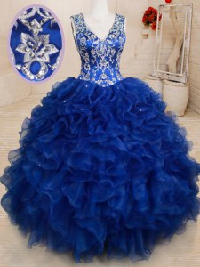 Edgy Royal Blue Backless V-neck Beading and Embroidery and Ruffles Quince Ball Gowns Organza Sleeveless