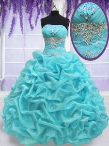 Pick Ups Strapless Sleeveless Lace Up Sweet 16 Quinceanera Dress Aqua Blue Organza
