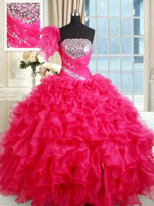 Stylish Organza Strapless Sleeveless Lace Up Sequins Vestidos de Quinceanera in Hot Pink