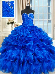 Royal Blue Sleeveless Floor Length Beading and Ruffles Lace Up Vestidos de Quinceanera
