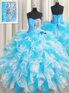 New Arrival Blue And White Organza Lace Up Quinceanera Dress Sleeveless Floor Length Ruffles and Sequins
