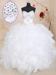 Ideal White Organza Lace Up Sweetheart Sleeveless Floor Length Vestidos de Quinceanera Beading and Ruffles