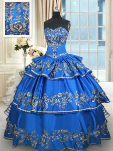 Sweetheart Sleeveless Sweet 16 Quinceanera Dress Floor Length Beading and Embroidery and Ruffled Layers Blue Taffeta
