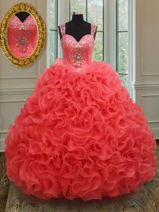 Coral Red Vestidos de Quinceanera Military Ball and Sweet 16 and Quinceanera and For with Beading Straps Sleeveless Zipper