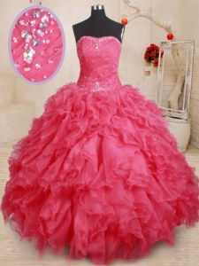Stylish Beading and Ruffles 15 Quinceanera Dress Coral Red Lace Up Sleeveless Floor Length