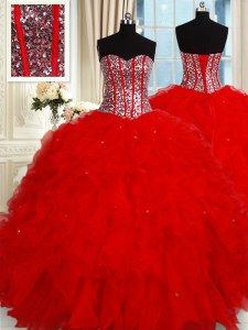 Sleeveless Tulle Floor Length Lace Up 15th Birthday Dress in Red with Ruffles and Sequins