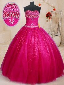Sequins Fuchsia Sleeveless Tulle Lace Up Sweet 16 Dress for Military Ball and Sweet 16 and Quinceanera