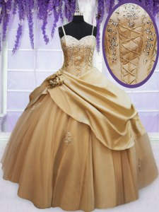 Attractive Champagne Sleeveless Beading and Appliques and Hand Made Flower Floor Length Quinceanera Dress