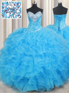 Baby Blue Organza Lace Up Sweetheart Sleeveless Floor Length Quinceanera Dresses Beading and Ruffled Layers