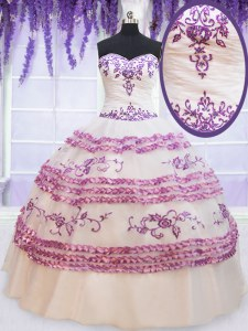 Ruffled Floor Length Ball Gowns Sleeveless White Ball Gown Prom Dress Lace Up