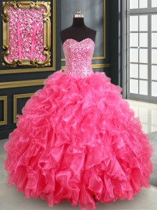 Artistic Hot Pink Lace Up Sweet 16 Dress Beading and Ruffles and Sequins Sleeveless Floor Length