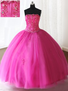 Ball Gowns Quince Ball Gowns Hot Pink Strapless Tulle Sleeveless Floor Length Lace Up
