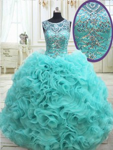 High End See Through Scoop Sleeveless Lace Up Quince Ball Gowns Aqua Blue Fabric With Rolling Flowers