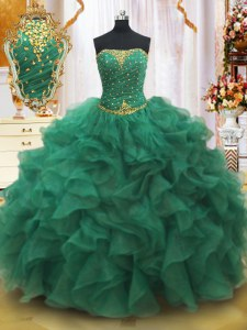 Ball Gowns 15th Birthday Dress Dark Green Strapless Organza Sleeveless Floor Length Lace Up