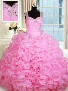 Beauteous Rose Pink Ball Gowns Straps Sleeveless Organza Floor Length Zipper Beading and Ruffles 15 Quinceanera Dress