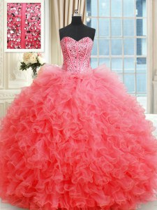 Clearance Coral Red Sweetheart Neckline Beading and Ruffles Quinceanera Gowns Sleeveless Lace Up