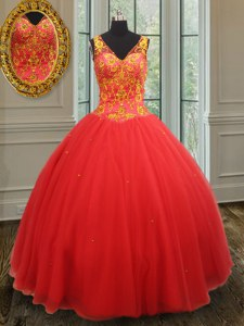 Glamorous Rust Red Ball Gowns Organza V-neck Sleeveless Beading and Appliques Floor Length Zipper Quinceanera Dresses