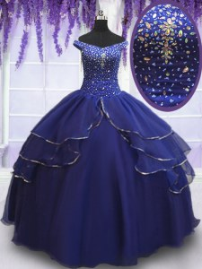 Off the Shoulder Royal Blue Lace Up 15 Quinceanera Dress Beading and Ruffled Layers and Sequins Sleeveless Floor Length