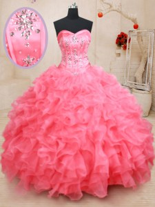 Excellent Sleeveless Organza Floor Length Lace Up Vestidos de Quinceanera in Pink with Beading and Ruffles