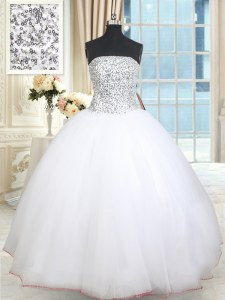White Sleeveless Floor Length Beading and Sequins Lace Up Sweet 16 Dresses