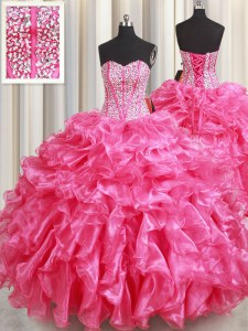 Amazing Sleeveless Organza Floor Length Lace Up Sweet 16 Dress in Hot Pink with Beading and Ruffles