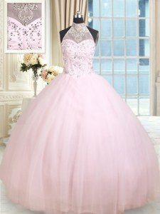 Affordable Halter Top Baby Pink Lace Up Ball Gown Prom Dress Beading Sleeveless Floor Length