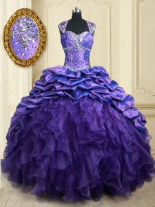 Hot Sale Straps Beading and Ruffles and Pick Ups Ball Gown Prom Dress Purple Lace Up Cap Sleeves Brush Train