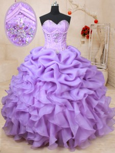 Low Price Lavender Vestidos de Quinceanera Military Ball and Sweet 16 and Quinceanera and For with Beading and Ruffles and Pick Ups Sweetheart Sleeveless Lace Up