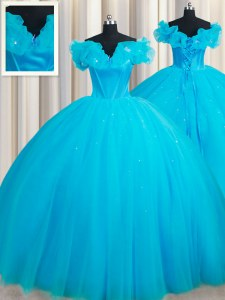 Dazzling Off the Shoulder Baby Blue Sleeveless Court Train Hand Made Flower Ball Gown Prom Dress
